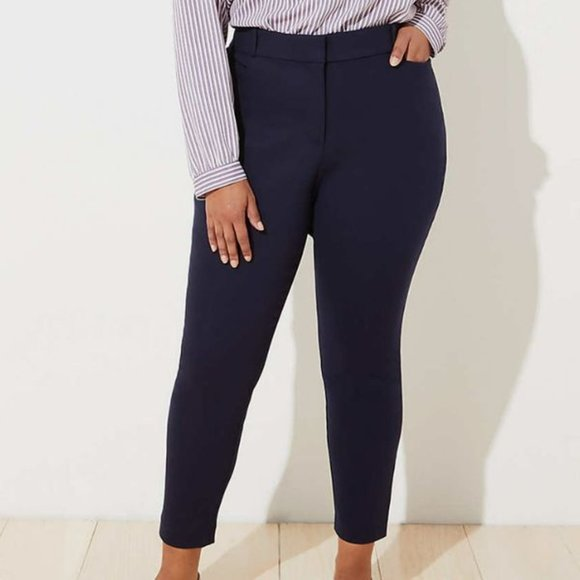 Talbots Dark Blue High-Waist Tailored Ankle Pants Size 16W Petite EUC
